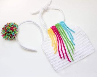 Fringe collar crop top/ pom pom headband/ colorful crop top/ girls crop top/ girls headband/ rainbow crop top/ fringe necklace