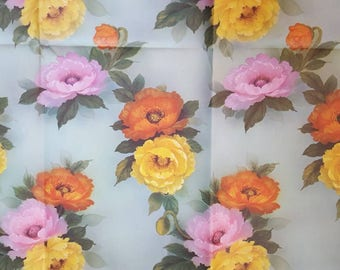 Vintage wrapping paper 1970s flowers floral girl female