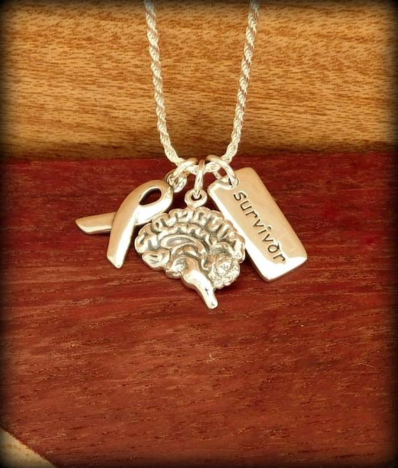 Sterling silver lifelike brain necklace, cancer survivor necklace, medical survival necklace,  psychology major