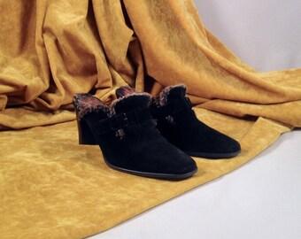 stuart weitzman clog / black suede clog / clog heel / faux fur clog / suede mules / faux fur clogs / 90s clogs / 7 - 37.5 / black clogs