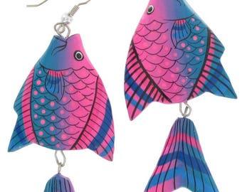 Blue Pink Angel Fish Pierced Earrings Hand Painted Dangle 1980S Vintage