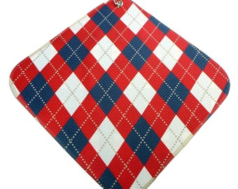 Red-White-Blue-Argyle Print Microfiber Golf Towel