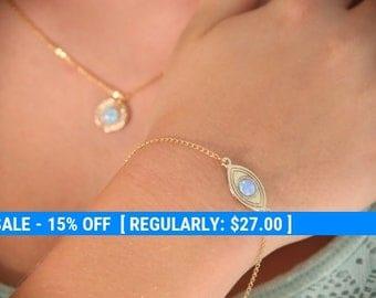 gold bracelet, opal gold bracelet, everyday bracelet, evil eye bracelet, blue opal, opal bracelet - 10027