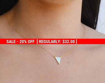 SALE 20% OFF Gold Triangle necklace, Gold necklace, small gold necklace, tiny gold necklace, petite, delicate necklace,necklace delicate-536