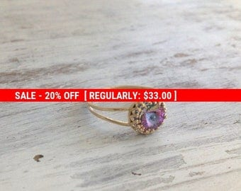 SALE 20% OFF Crystal ring, Gold ring, stacking ring, jewelry ring, stackble ring, crystal thin ring, stackble gold ring, light purple,