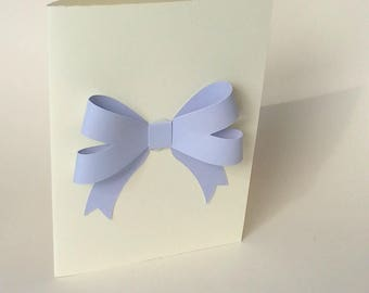 """The """"Purple bow and small flowers"""" card with its envelope"""