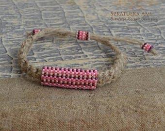 Christmasinjuly Natural Linen men bracelet Ethnic bracelets Purple pink Organic jewelry Beaded bracelets Tribal Men bracelet  Leather natura