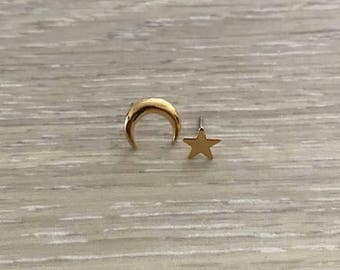 Star & Crescent Moon Earrings, Gold Earring, Dainty Earring, Gold Studs