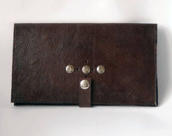 Checkbook cover, dark brown leather