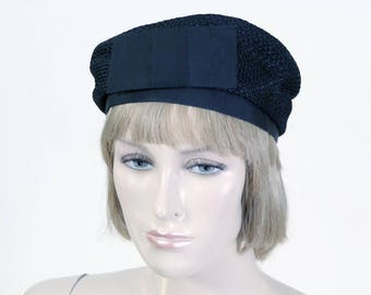 Vintage Women's Black Pillbox Hat - Church Hat - Mid Century Hat - Front Bow - Soft Sides - Mourning Hat
