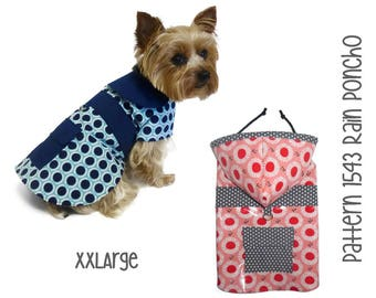 Dog Rain Coat Pattern 1543 * XXLarge * Dog Clothes Sewing Pattern * Dog Coat Pattern * Dog Jacket Pattern * Little Dog Coat * Dog Raincoat
