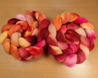Summertime  - Merino top in red, pink, peach, orange, yellow