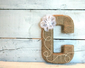 Jute Wrapped Letters | Yarn Wrapped Letters | Custom Wrapped Letters | Lace and Pearl Letters
