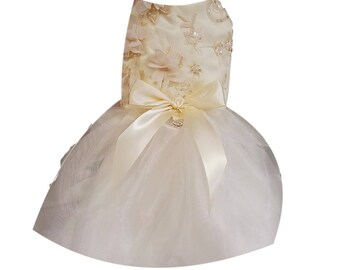 Dog Wedding Dress, Ivory Satin
