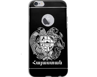Black Anodized Aluminum and TPU Frame, Case for Apple 7 &7 Plus iPhone laser engraved Armenian Cross coat of Arms Prayer