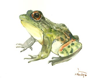 Green Frog Illustration, one of a kind original frog artwork frog painting, wall art, animal art