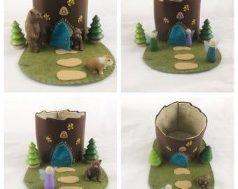 Bee Hive Fairy House Tree Stump Cottage Playscape Play Mat - wool felt storytelling storybook fairytale - Dollhouse woodland fairy house