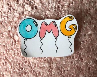 cute hand-drawn omg balloon stickers