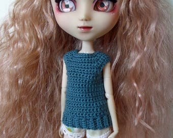 Teal Lake crochet Top for Pullip dolls