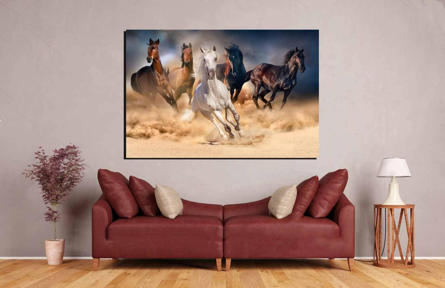 Horse,Running Horses,Running Horses Dusty,Living Room Art,Horses Wall Art,Horses  Art Print,Horses Canvas,Decorative Art Print,Wall Art Decor
