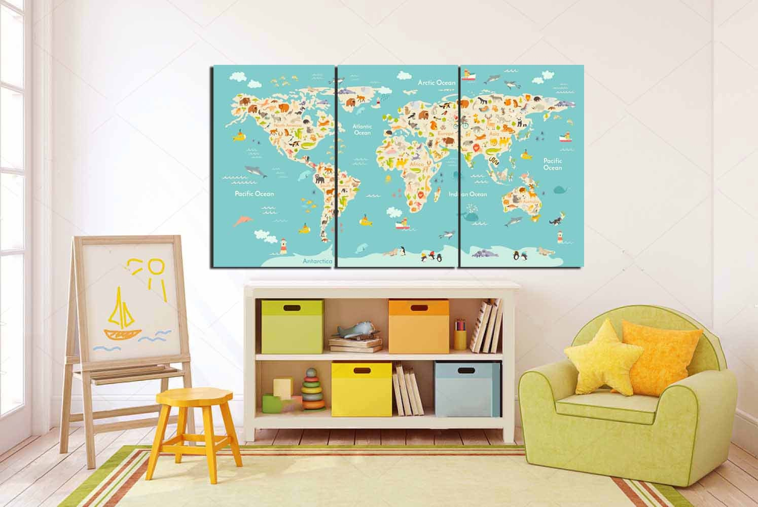 Kids Room World MapLarge Animal Map Kids Room Art Kids Wall Art - World map for kids room
