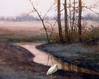 White Egrets in the field - Art Tile Print on Ceramic with Hook or with Feet Indoor Use -Nature, Birds
