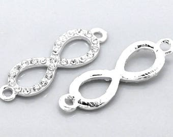 "1 Connector ""Infinity"" metal and crystal clear 33mm"