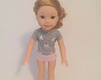 """Wellie Wisher Top - Shirt for 14"""" Dolls - Doll Clothes - Tee Shirt for Dolls - 14"""" Doll Top - Gray - Knit Top for Dolls - Silver Stars"""