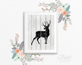 Rustic Deer PRINTABLE Art - Woodland Animal Nursery Art - Black and White - Baby Shower Gift - Nursery Decor - Bedroom Art - SKU:726