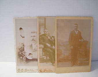 Cabinet Cards Age Progression Man, 3 Vintage Sepia photos, young man,  Engagement, funeral card,  family album geneology photo