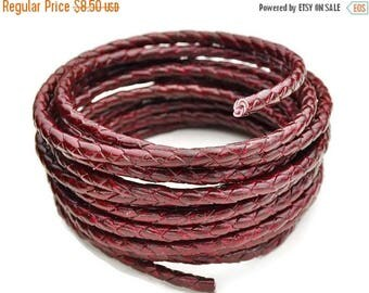 "30% OFF 5mm Round Braided Leather Cord  -   2ft/24"" - Garnet/Bordeaux - Wire Core"