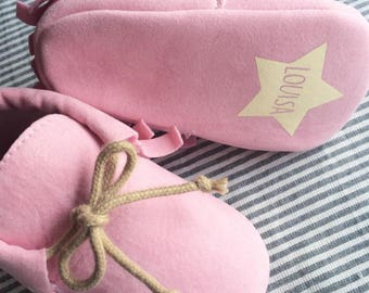 LITTLE MOC PINK / Baby moccasins customizable