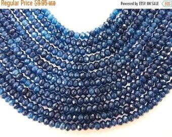 25% OFF 3mm Sapphire Blue Jade Faceted Rondelle Gemstone Bead strand 15 Inch Full Strand, 150Beads, blue Jade 3mm x 2mm - SJA251