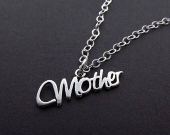 SUMMER SALE Sterling Silver Necklace - Mother Script Pendant
