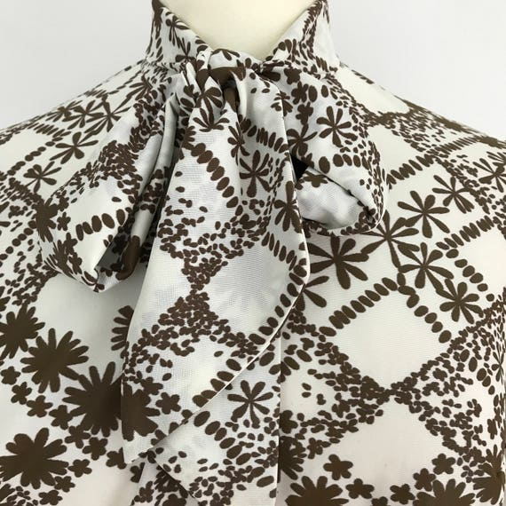 1970s shirt Mod blouse nylon check daisy floral print long sleeves top brown white scooter girl top UK 14 vintage pussy bow
