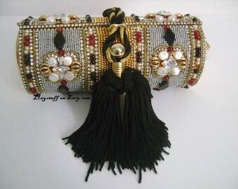 Vintage M & J Hansen Designs LTD Made in USA Gold Metal Glamorous Evening Purse Clutch Bag Bejeweled Garnet Rhinestones Pearl W/Black Tassel
