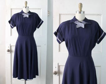 Vintage 1940s Navy Rayon Dress / 40s Polka Dot Trim Day Dress / Mathilde Dress