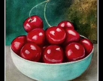 Bowl cherries acrylic on canvas
