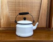 White Enamelware Tea Kettle - Vintage Enamel Teapot - Enamel Tea Kettle - Country Kitchen Decor - Modern Country Decor Farmhouse Kitchen