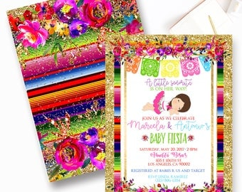 Fiesta Baby Shower Invitation, Mexican Fiesta Baby Shower Invite, Senorita, Fiesta, Floral Fiesta- YOU PRINT