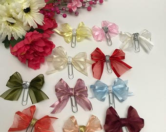 Beautiful Satin/Organza Bow Paper Clips