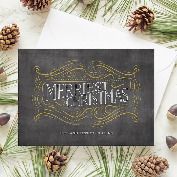 Non-Photo Holiday Card, Chalkboard Christmas Card, Personalized Greeting Card, Christmas Greeting Cards - Chalkboard Label