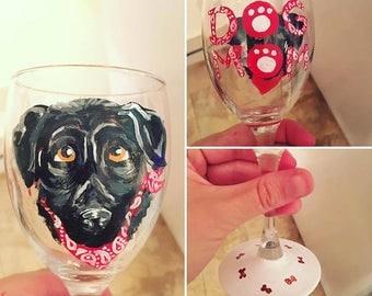 Made-to-Order Custom Pet Portrait Wine Glasses