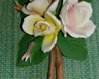 Porcelain Flowers Roses Bouquet