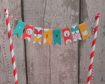 Cake Bunting Personalised, mini bunting, Custom bunting, Cake Garland, Name Bunting, Birthday Decoration, Personalised Birthday, Cake Topper