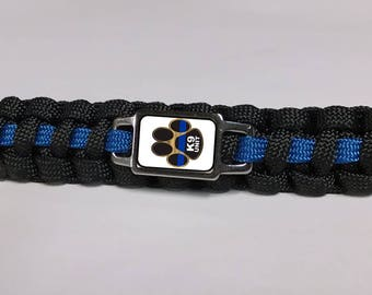 Thin Blue Line Canine K9 Police Dog Paw Logo Paracord Survival Key Chain