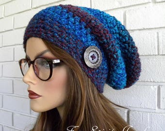 Slouchy Beanie Hat, Chunky Winter Hat, Women's Slouchy Hat, Beanie, Hat with Button, Boho Chic, Brown Tweed Stripes, Brown Hat,  Accessories
