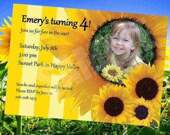 Sunflower Birthday Party Invitation