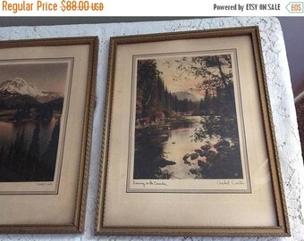 4th of July sale Antique Asahel Curtis  Print Creek Mountain Side Stream Evening In The Cascades and Mt Rainier