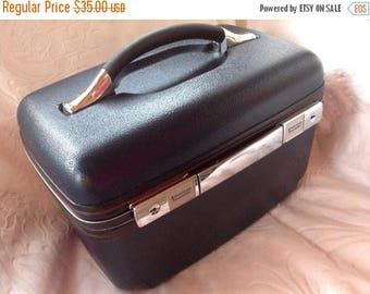 4th of July sale Vintage Luggage American Tourister Train Case Navy Blue Train Case Make Up Case Over Night Bag